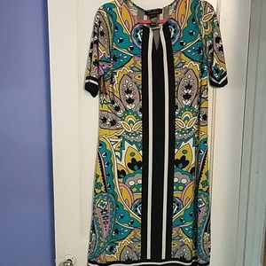 Paisley print, multi color, shift dress size 14/16